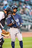Corpus Christi Hooks infielder Osvaldo Duarte (6) steps to the plate Wednesday, May 1, 2019, at Arvest Ballpark in Springdale, Arkansas. (Jason Ivester/Four Seam Images)