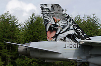 Swiss F-18 Hornet painted with tiger paint scheme. Nato Tiger Meet is an annual gathering of squadrons using the tiger as their mascot. While originally mostly a social event it is now a full military exercise. Tiger Meet 2012 was held at the Norwegian air base Ørlandet.
