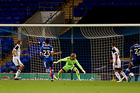 16th September 2020; Portman Road, Ipswich, Suffolk, England, English Football League Cup, Carabao Cup, Ipswich Town versus Fulham; Aleksandar Mitrovic of Fulham wins thebheader and scores for 0-1 in the 38th minute past keeper Cornell