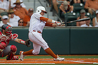 Texas Longhorns outfielder Mark Payton (2) swings the bat during the NCAA Super Regional baseball game against the Houston Cougars on June 7, 2014 at UFCU Disch–Falk Field in Austin, Texas. The Longhorns are headed to the College World Series after they defeated the Cougars 4-0 in Game 2 of the NCAA Super Regional. (Andrew Woolley/Four Seam Images)