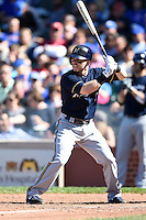 Milwaukee Brewers second baseman Scooter Gennett (2) at bat during a game against the Chicago Cubs on August 14, 2014 at Wrigley Field in Chicago, Illinois.  Milwaukee defeated Chicago 6-2.  (Mike Janes/Four Seam Images)