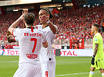 18.08.2019, Stadion an der Wuhlheide, Berlin, GER, 1.FBL, 1.FC UNION BERLIN  VS. RB Leibzig, <br /> DFL  regulations prohibit any use of photographs as image sequences and/or quasi-video<br /> im Bild 0:4 durch Yussuf Poulsen (RB Leipzig #9), Marcel Sabitzer (RB Leipzig #7)<br /> <br />      <br /> Foto © nordphoto / Engler