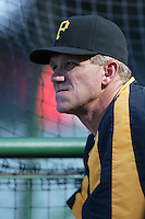 Pittsburgh Pirates Manager Jim Tracy during batting practice before a game against the Los Angeles Angels in a 2007 MLB season game at Angel Stadium in Anaheim, California. (Larry Goren/Four Seam Images)