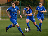 Emily Steijvers (33) of KRC Genk with the ball during a female soccer game between  Racing Genk Ladies and White Star Woluwe on the 8 th matchday of play off 2 in the 2020 - 2021 season of Belgian Scooore Womens Super League , tuesday 18 th of May 2021  in Genk , Belgium . PHOTO SPORTPIX.BE | SPP | JILL DELSAUX
