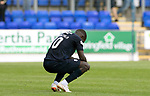 St Johnstone v Dundee…25.08.18…   McDiarmid Park     SPFL<br />A dejected Elton Ngwatala at full time<br />Picture by Graeme Hart. <br />Copyright Perthshire Picture Agency<br />Tel: 01738 623350  Mobile: 07990 594431