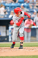 Hagerstown Suns left fielder Justin Connell (7) squares to bunt during a game against the Asheville Tourists at McCormick Field on April 30, 2019 in Asheville, North Carolina. The Tourists defeated the Suns 5-4. (Tony Farlow/Four Seam Images)