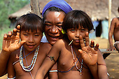 Roraima, Brazil. Sister Irma Florenca with her patients in a malaria health post in the Yanomami area.