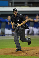 Home plate umpire Adam Clark gets into position during the Appalachian League game between the Kingsport Mets and the Burlington Royals at Burlington Athletic Stadium on July 27, 2018 in Burlington, North Carolina. The Mets defeated the Royals 8-0.  (Brian Westerholt/Four Seam Images)