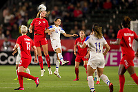 CARSON, CA - FEBRUARY 07: Jordyn Huitema #9 of Canada with a head shot during a game between Canada and Costa Rica at Dignity Health Sports Complex on February 07, 2020 in Carson, California.
