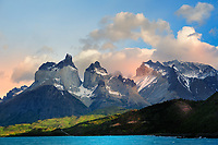 CHILE - NP Torres del Paine<br /> View over Lago Pehoe to the Cuernos and Hornos of the Torres del Paine Massif