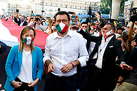 Giorgia Meloni and Matteo Salvini<br /> Roma June 2nd 2020. Italy, Piazza del Popolo. Demonstration of the right parties Lega Nord per Salvini, Fratelli d'Italia and Forza Italia against the government in occasion of the anniversary of the Republic. The protesters have exposed a huge Italian flag.<br /> Photo Samantha Zucchi Insidefoto