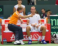 Switserland, Genève, September 18, 2015, Tennis,   Davis Cup, Switserland-Netherlands, Captain Jan Siemerink on the bench with Thiemo de Bakker (NED) <br /> Photo: Tennisimages/Henk Koster