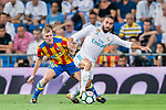 Daniel Carvajal Ramos (r) of Real Madrid fights for the ball with Antonio Latorre Grueso, Lato, of Valencia CF during their La Liga 2017-18 match between Real Madrid and Valencia CF at the Estadio Santiago Bernabeu on 27 August 2017 in Madrid, Spain. Photo by Diego Gonzalez / Power Sport Images