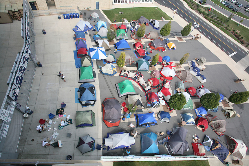 """State College, PA - 9/5/2007:  Students camp outside the gates of Beaver Stadium to form """"Paternoville"""" and as they hope to secure front-row seats to the football game against Notre Dame this Saturday.  Photo:  Joe Rokita / JoeRokita.com..Photo ©2007 Joe Rokita Photography"""