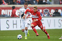 Bridgeview, IL - Saturday April 14, 2018: Chris Pontius, Diego Campos during a regular season Major League Soccer (MLS) match between the Chicago Fire and the LA Galaxy at Toyota Park.  The LA Galaxy defeated the Chicago Fire by the score of 1-0.