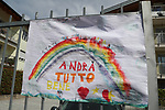 """24/03/2020 in Pergine Valsugana, Italy. Most part of Europe is today on a sweeping confinement to try to slow down the spread of the Covid-19 Pandemic. A drawing with a rainbow and an hope message 'Everything Will Be Fine"""""""