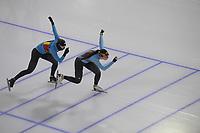 SCHAATSEN: HEERENVEEN: 13-01-2021, IJsstadion Thialf, ISU European Speed Skating Championships, training, Sandrine Tas, Stien Vanhoutte, ©foto Martin de Jong