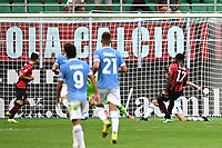 Rafael Leao of AC Milan scores the goal of 1-0 during the Serie A 2021/2022 football match between AC Milan and SS Lazio at Giuseppe Meazza stadium in Milano (Italy), August 29th, 2021. Photo Image Sport / Insidefoto