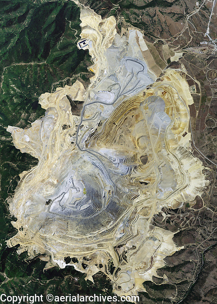 aerial photo map of the Bingham Canyon  Kennecott Copper Mine, the deepest open pit coppermining operation in the world, Utah
