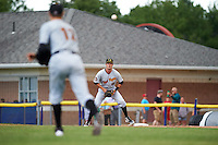 West Virginia Black Bears first baseman Chris Harvey (10) waits for a throw from pitcher James Marvel (12) during a game against the Batavia Muckdogs on June 28, 2016 at Dwyer Stadium in Batavia, New York.  Batavia defeated West Virginia 3-1.  (Mike Janes/Four Seam Images)