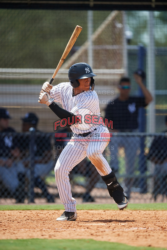 GCL Yankees West shortstop Roberto Chirinos (32) at bat during a game against the GCL Yankees East on August 8, 2018 at Yankee Complex in Tampa, Florida.  GCL Yankees West defeated GCL Yankees East 8-4.  (Mike Janes/Four Seam Images)
