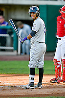 Joel Diaz (5) of the Grand Junction Rockies at bat against the Orem Owlz in Pioneer League action at Home of the Owlz on July 7, 2016 in Orem, Utah. The Owlz defeated the Rockies 15-3. (Stephen Smith/Four Seam Images)
