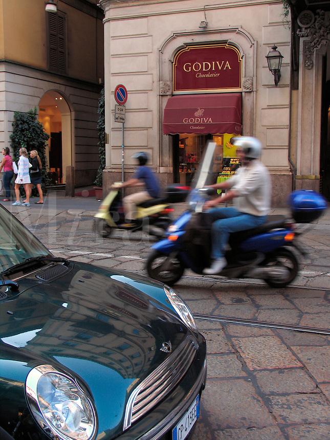 Godiva Chocolatier shop, Montenapoleone district, Milan, Ital
