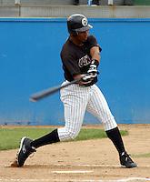 Third baseman Edwin Encarnacion (23) of the Potomac Cannons, a Cincinnati Reds farm team, taken June 1, 2003, at Pfitzner Stadium in Woodbridge, Virginia. (Tom Priddy/Four Seam Images)
