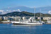 Super yacht docked in the harbor in Ibiza, Eivissa, Balearic Islands,  Spain.