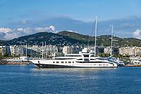 Super yacht docked in the harbor in Ibiza, Eivissa, Balearic Islands,  Spain.