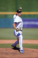 Mesa Solar Sox pitcher Matt Dermody (46), of the Toronto Blue Jays organization, during a game against the Scottsdale Scorpions on October 21, 2016 at Sloan Park in Mesa, Arizona.  Mesa defeated Scottsdale 4-3.  (Mike Janes/Four Seam Images)