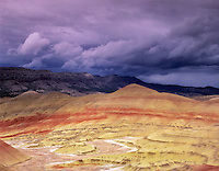 Painted Hills with storm clouds. John Day Fossil Beds National Monument. Oregon.