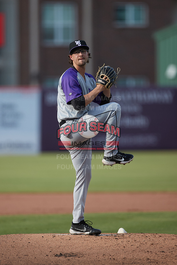 Winston-Salem Dash starting pitcher Taylor Varnell (19) in action against the Greensboro Grasshoppers at First National Bank Field on June 3, 2021 in Greensboro, North Carolina. (Brian Westerholt/Four Seam Images)