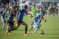 Kansas City, MO - Sunday May 07, 2017: Desiree Scott, Yael Averbuch, Marta Vieira Da Silva during a regular season National Women's Soccer League (NWSL) match between FC Kansas City and the Orlando Pride at Children's Mercy Victory Field.
