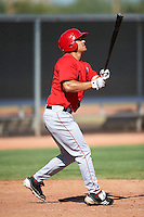 Los Angeles Angels minor league outfielder Jonathan Walsh #18 during an instrasquad game at the Tempe Diablo Stadium Complex on October 10, 2012 in Tempe, Arizona.  (Mike Janes/Four Seam Images)