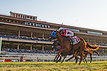 DEL MAR,CA-SEPTEMBER 04: Terra's Angel,ridden by Sasha Risenhoover, wins the Del Mar Juvenile Fillies Turf at Del Mar Race Track on September 04,2017 in Del Mar,California (Photo by Kaz Ishida/Eclipse Sportswire/Getty Images)