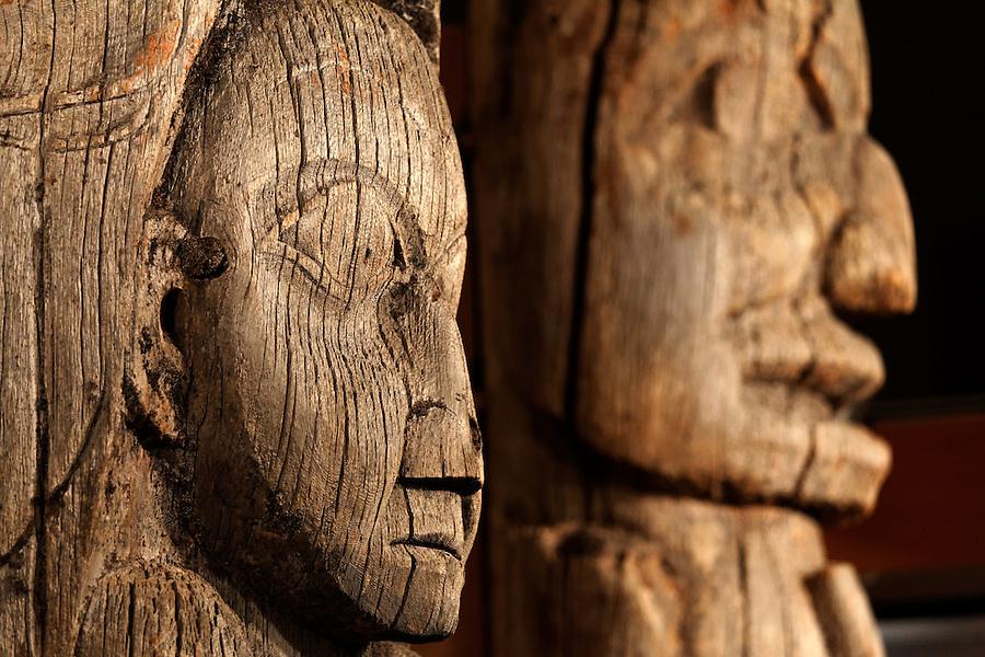 Totem poles inside Totem Heritage Center (Memorial Pole, Haida, left and Mortuary Pole, Tlingit, right), Ketchikan, Alaska
