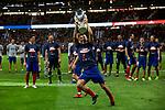 Atletico de Madrid's Lucas Hernandez celebrates the Super Cup Tittle after La Liga match. August 25, 2018. (ALTERPHOTOS/A. Perez Meca)