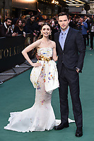 "Lilly Collins and Nicholas Hoult<br /> arriving for the ""TOLKIEN"" premiere at the Curzon Mayfair, London<br /> <br /> ©Ash Knotek  D3499  29/04/2019"