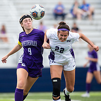 Madeline Wilburn (9) of Fayetteville and Anna  Wilcox (22) of Mount Saint Mary's Academy go for ball at Wildcat Stadium, Springdale, Arkansas, Friday, May 14, 2021 / Special to NWA Democrat-Gazette/ David Beach