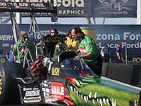 Feb. 22, 2013; Chandler, AZ, USA; NHRA crew chief Richard Hartman for top fuel dragster driver Terry McMillen during qualifying for the Arizona Nationals at Firebird International Raceway. Mandatory Credit: Mark J. Rebilas-