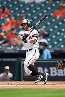 Chase Cryer (15) of the Sam Houston State Bearkats follows through on his swing against the \vs\ in game one of the 2018 Shriners Hospitals for Children College Classic at Minute Maid Park on March 2, 2018 in Houston, Texas. The Bearkats walked-off the Commodores 7-6 in 10 innings.   (Brian Westerholt/Four Seam Images)