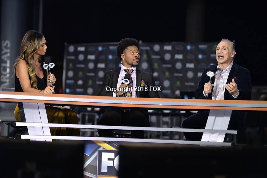 BROOKLYN, NY - DECEMBER 20: (L-R) Kate Abdo,  Shawn Porter and Ray Mancini attend the Fox Sports and Premier Boxing Champions press conference for the December 22 Fox PBC Fight Night at the Barclay Center on December 20, 2018 in Brooklyn, New York. (Photo by Anthony Behar/Fox Sports/PictureGroup)