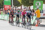 The breakaway featuring Edward Planckaert (BEL) Alpecin-Fenix, Jonathan Lastra (ESP) Caja Rural-Seguros RGA, Magnus Cort (DEN) EF Education-Nippo, Joan Bou (ESP) Euskaltel-Euskadi and Harm Vanhoucke (BEL) Lotto Soudal during Stage 11 of La Vuelta d'Espana 2021, running 133.6km from Antequera to Valdepeñas de Jaén, Spain. 25th August 2021.     <br /> Picture: Cxcling | Cyclefile<br /> <br /> All photos usage must carry mandatory copyright credit (© Cyclefile | Cxcling)