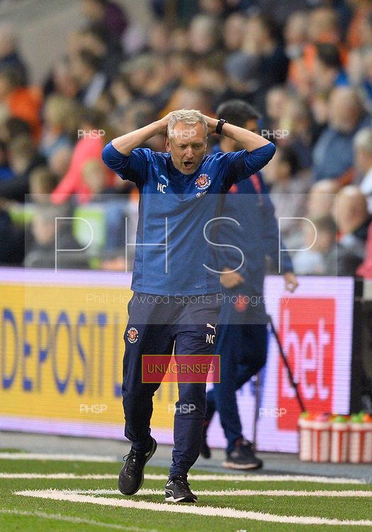 14/09/2021 Sky Bet Championship Blackpool v Huddersfield Town  <br /> <br /> Unhappy Blackpool Head Coach, Neil Critchley