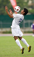 Kelvin Nunez (7) of Honduras chests the ball during the group stage of the CONCACAF Men's Under 17 Championship at Catherine Hall Stadium in Montego Bay, Jamaica. Honduras defeated Barbados, 2-1.