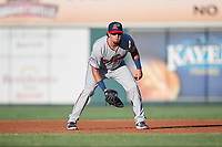 Fort Myers Miracle first baseman Robby Rinn (11) during a game against the Lakeland Flying Tigers on August 7, 2018 at Publix Field at Joker Marchant Stadium in Lakeland, Florida.  Fort Myers defeated Lakeland 5-0.  (Mike Janes/Four Seam Images)