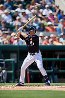 Detroit Tigers third baseman Brandon Dixon (12) at bat during a Grapefruit League Spring Training game against the Atlanta Braves on March 2, 2019 at Publix Field at Joker Marchant Stadium in Lakeland, Florida.  Tigers defeated the Braves 7-4.  (Mike Janes/Four Seam Images)