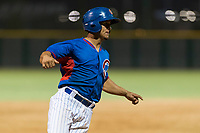 AZL Cubs 2 designated hitter Henderson Perez (8) holds at third base during an Arizona League game against the AZL Indians 2 at Sloan Park on August 2, 2018 in Mesa, Arizona. The AZL Indians 2 defeated the AZL Cubs 2 by a score of 9-8. (Zachary Lucy/Four Seam Images)