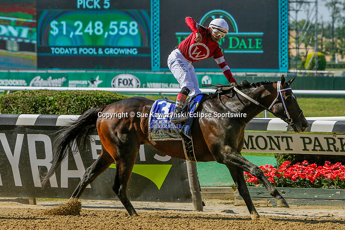 JUNE 05, 2021: Silver State, #3, ridden by jockey Ricardo Santana, wins the Hill 'N' Dale Metropolitan Win and You're In Handicap on Belmont Stakes Day at the Belmont Stakes Festival at Belmont Park in Elmont, New York. Sue Kawczynski/Eclipse Sportswire/CSM
